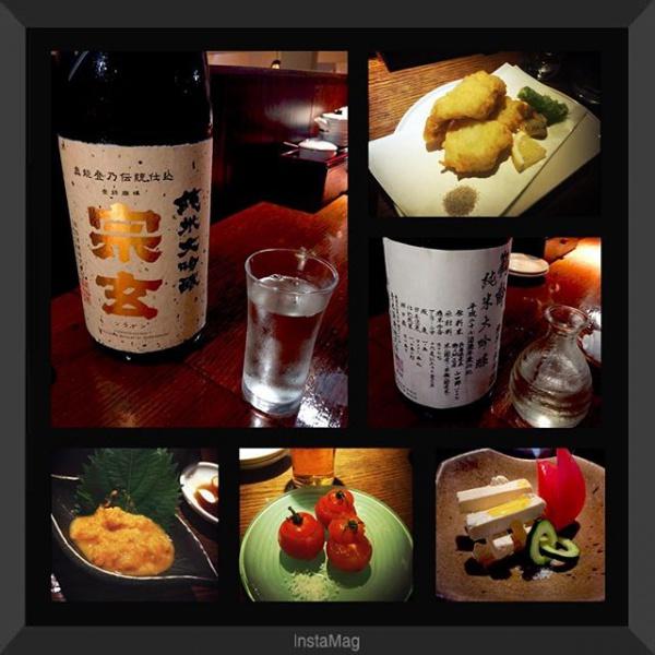 【Instagram】日曜日の夜、久しぶりの居酒屋。宗玄は一杯3600円!店主さんから隠し酒メニューを勧められました。究極の酒をいただいた時の彼の表情が素敵でした。鶴齢も純米大吟醸。深い味わいにうっとり。料理も美味しかったので、また行きたいです。#日本酒 #居酒屋 #鶴齢 #宗玄