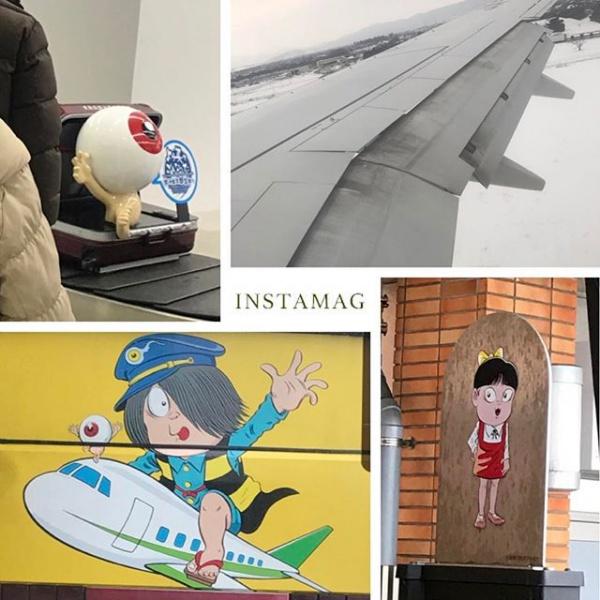【Instagram】米子鬼太郎空港に到着しました。今年初めて雪を見ました。これからバスで松江に移動します。空港内は殆ど寄れなかったけど、鬼太郎をいくつか見つけたのでまとめてみます。#旅行 #空港 #鬼太郎 #境港