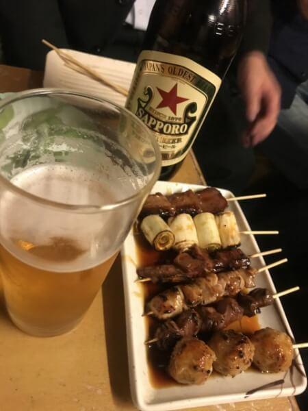 焼き鳥(たれ)とビール